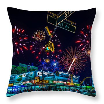 Saturday Night At Coney Island Throw Pillow