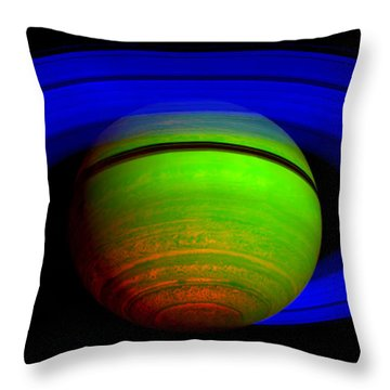 Saturn In Color Throw Pillow by Paul Ward
