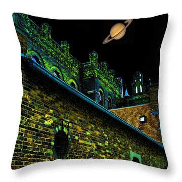 Saturn Over Pabst Brewery Fantasy Image Of Abandoned Home Of Blue Ribbob Beer From 1860  Throw Pillow by Lawrence Christopher