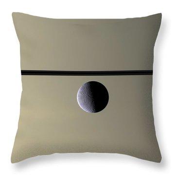 Saturn Rhea Contemporary Abstract Throw Pillow