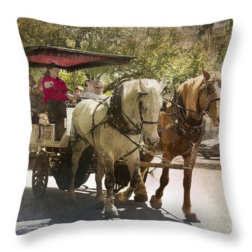 Savannah Carriage Ride Throw Pillow by Carrie Cranwill