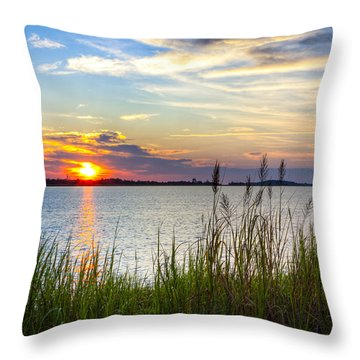 Savannah River At Sunrise - Georgia Coast Throw Pillow