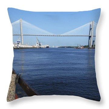 Savannah River Bridge Ga Throw Pillow