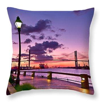 Savannah River Bridge Throw Pillow
