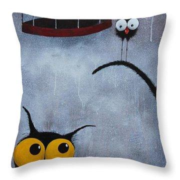 Save The Bird Throw Pillow by Lucia Stewart