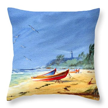 Saving The Fishing Boats - Maunabo Beach Puerto Rico Throw Pillow by Bill Holkham