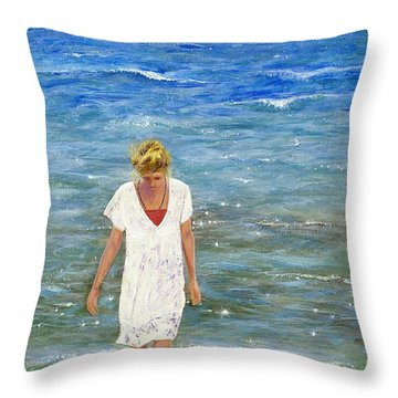 Savoring The Sea Throw Pillow by Margaret Bobb