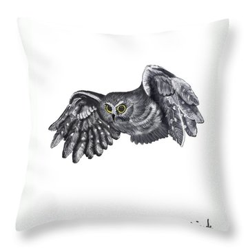 Throw Pillow featuring the drawing Saw-whet Owl by Terry Frederick