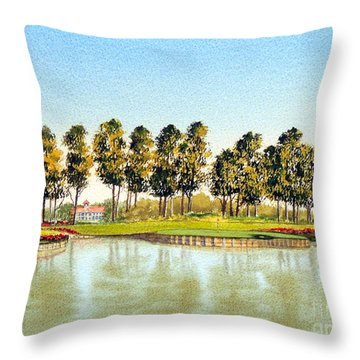 Sawgrass Tpc Golf Course 17th Hole Throw Pillow by Bill Holkham