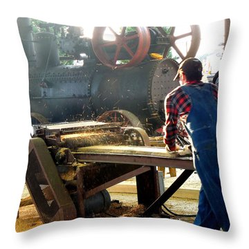 Throw Pillow featuring the photograph Sawmill Planer In Action by Pete Trenholm