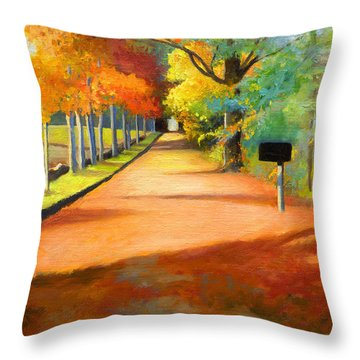Sawmill Road Autumn Vermont Landscape Throw Pillow by Catherine Twomey