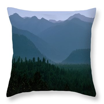 Sawtooth Mountains Silhouette Throw Pillow by Ed  Riche
