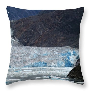 Throw Pillow featuring the photograph Sawyer Glacier Blue Ice by Jennifer Wheatley Wolf