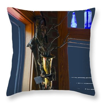 Throw Pillow featuring the photograph Sax At The Full Moon Cafe by Greg Reed