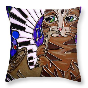 Sax Cat 2 Throw Pillow