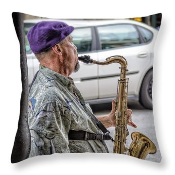 Sax In The Street Throw Pillow