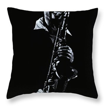 Sax Player Throw Pillow by Richard Young
