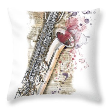 Saxophone 01 - Elena Yakubovich Throw Pillow