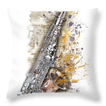 Saxophone 02 - Elena Yakubovich Throw Pillow