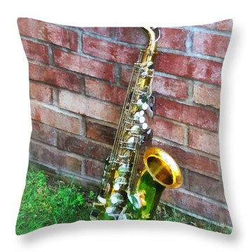 Saxophone Against Brick Throw Pillow
