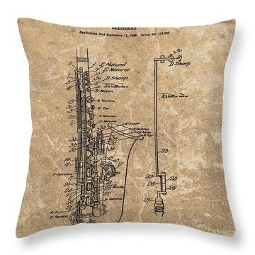 Saxophone Patent Design Illustration Throw Pillow