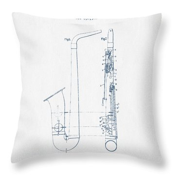 Saxophone Patent Drawing From 1899 - Blue Ink Throw Pillow