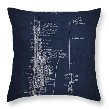 Saxophone Patent Drawing From 1928 Throw Pillow