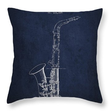 Saxophone Patent Drawing From 1937 - Blue Throw Pillow by Aged Pixel