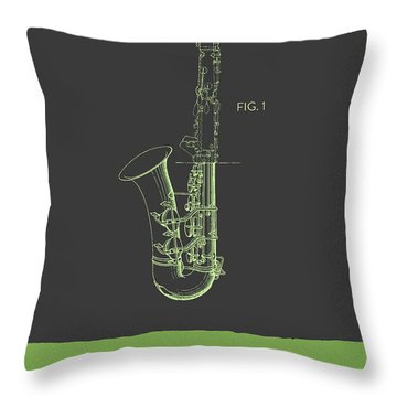 Saxophone Patent From 1937 - Gray Green Throw Pillow