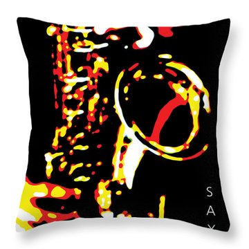 Saxy Black Poster Throw Pillow
