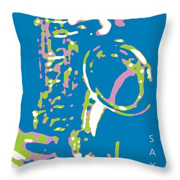 Saxy Blue Poster Throw Pillow