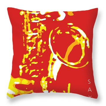 Saxy Red Poster Throw Pillow
