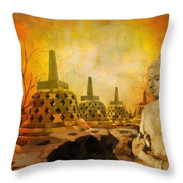 Sborobudur Temple Compounds Throw Pillow
