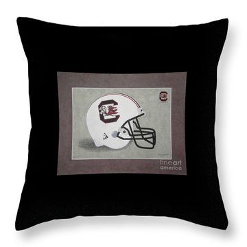 S.c. Gamecocks T-shirt Throw Pillow by Herb Strobino