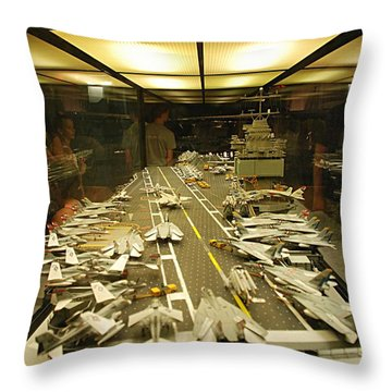 Scale Model Aircraft Carrier Throw Pillow