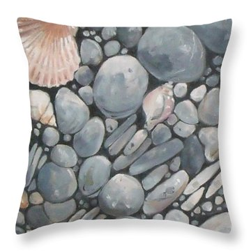 Scallop Shell And Black Stones Throw Pillow by Mary Hubley