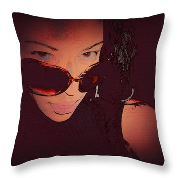 Futuristic Women Sunglasses Fashion Style Art Print Ai P. Nilson  Throw Pillow