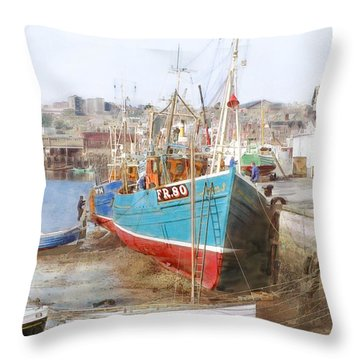 Scarborough Harbour Throw Pillow by Ron Harpham