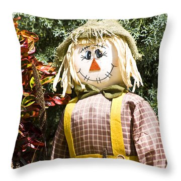 Scare Crow Throw Pillow by Carolyn Marshall