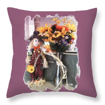 Scarecrow And Company Throw Pillow by Patricia Keller