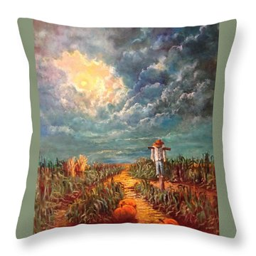 Scarecrow Moon Pumpkins And Mystery Throw Pillow