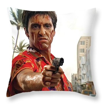 Throw Pillow featuring the painting Scarface Artwork 2 by Sheraz A
