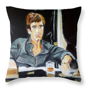 Throw Pillow featuring the painting Scarface by Judy Kay