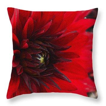 Scarlet Dahlia Throw Pillow