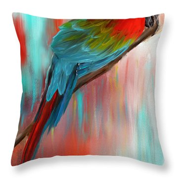 Throw Pillow featuring the painting Scarlet- Red And Turquoise Art by Lourry Legarde