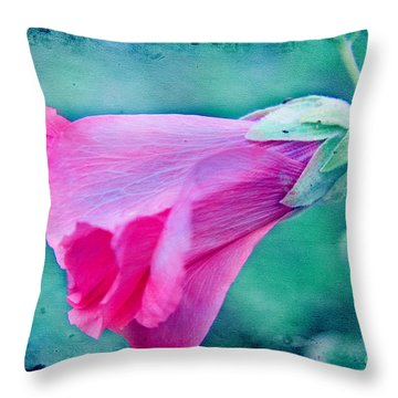 Scarlet Mallow Throw Pillow