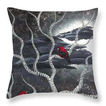 Throw Pillow featuring the painting Scarlet Night by Oddball Art Co by Lizzy Love