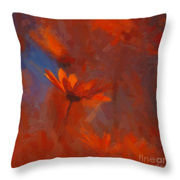 Scarlet Petals  Throw Pillow