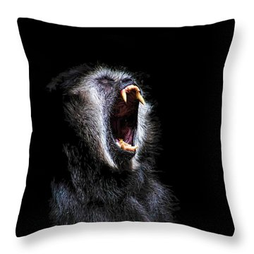 Scary Black Monkey Vicious Fanged Teeth Throw Pillow