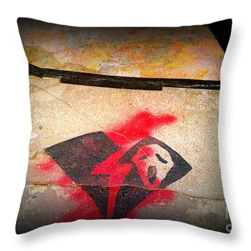 Scary Faced Guy W A Broken Heart Throw Pillow